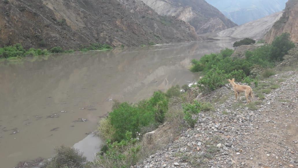 Río se convirtió en laguna por un deslizamiento de lodo y piedras que lo convirtió en una laguna.