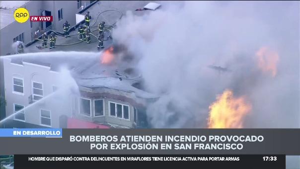El incendio se originó aparentemente por una explosión debido a una fuga de gas.