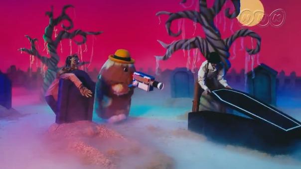 Noppo y Gonta filman una película de zombies en este pequeño comercial.