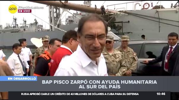 El BAP Pisco zarpó con ayuda humanitaria a las regiones del sur, tras inspección del presidente Martín Vizcarra.