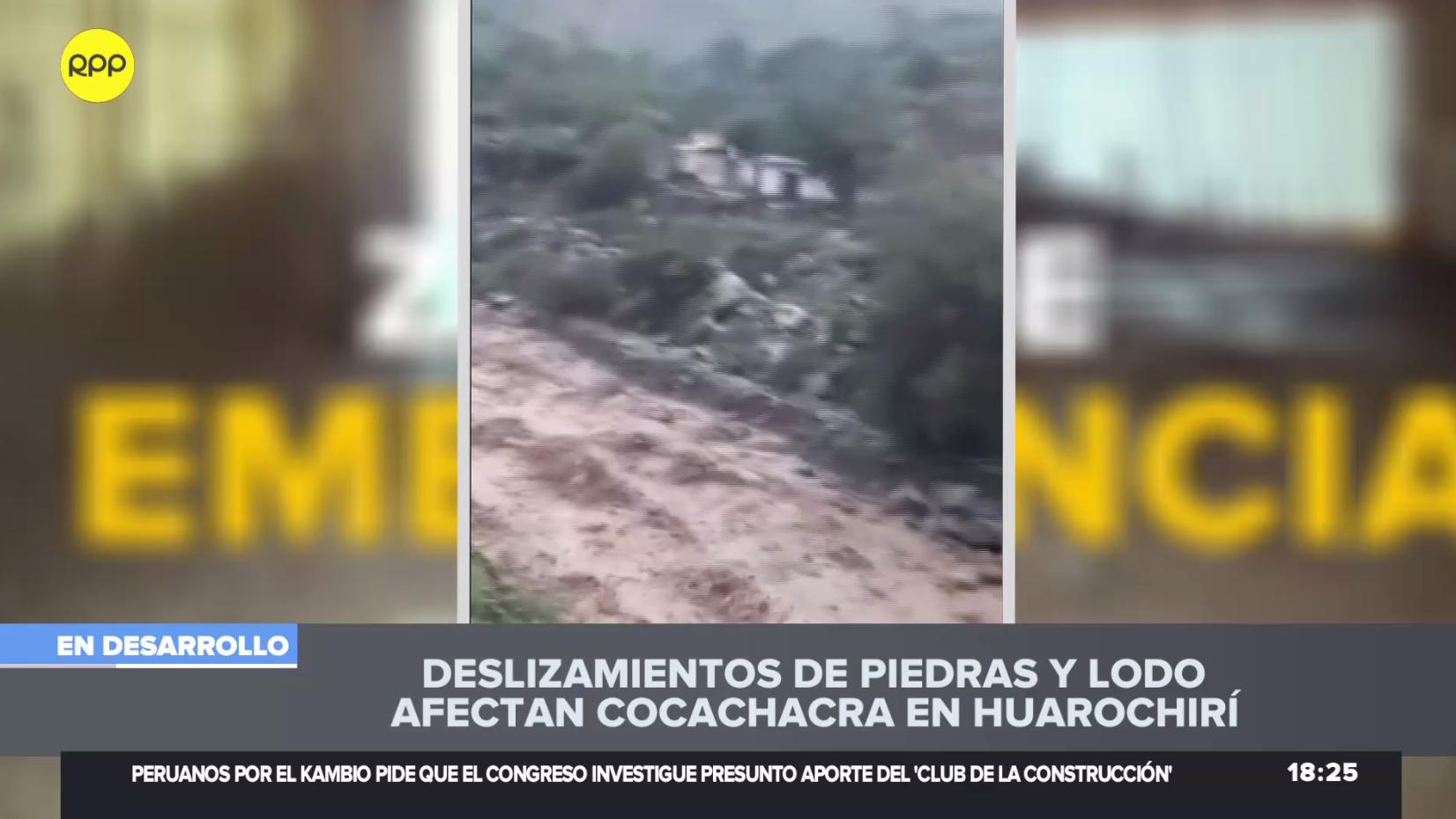 Fuertes lluvias y deslizamientos de tierra afectan a Santa Cruz de Cocachacra.