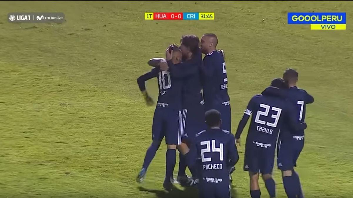 Gol de Omar Merlo, que abrió el marcador a favor de Sporting Cristal en Huancayo