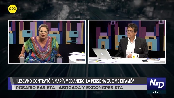 La excongresista Rosario Sasieta se pronuncia en contra de Yonhy Lescano, en Nada Está Dicho por RPP.