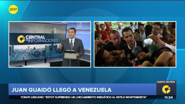 Juan Guaidó llegó a Venezuela en vuelo comercial.