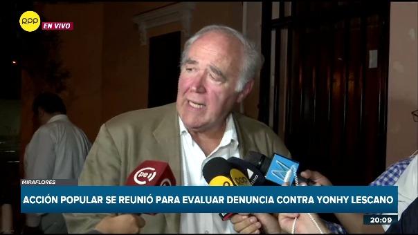 Víctor Andrés García Belaunde dijo que posiblemente este miércoles la bancada de Acción Popular se reunirá para decidir el futuro de Yonhy Lescano.