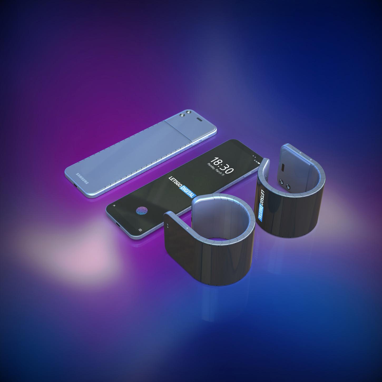 Parte de la estructura del teléfono-pulsera sirve para manter el teléfono recto cuando cambia de forma Fuente:LetsGoDigital