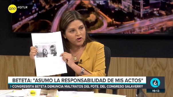 Karina Beteta, congresista de Fuerza Popular, estuvo en el programa ¿Quién tiene la Razón? de RPP.