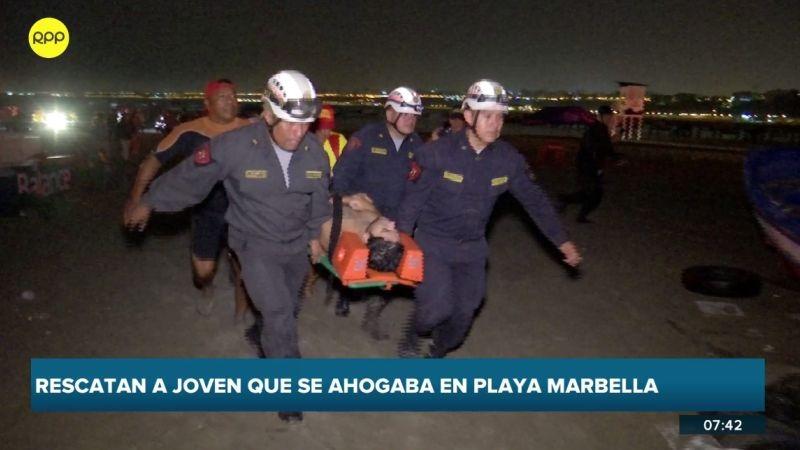 Renato Uribe Orihuela fue rescatado por salvavidas de la Policía Nacional.