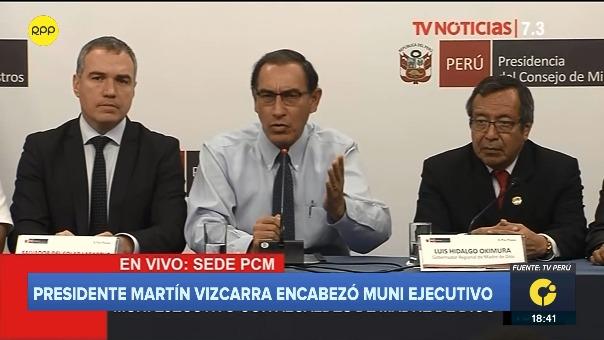 El presidenteMartín Vizcarra en conferencia de prensa .