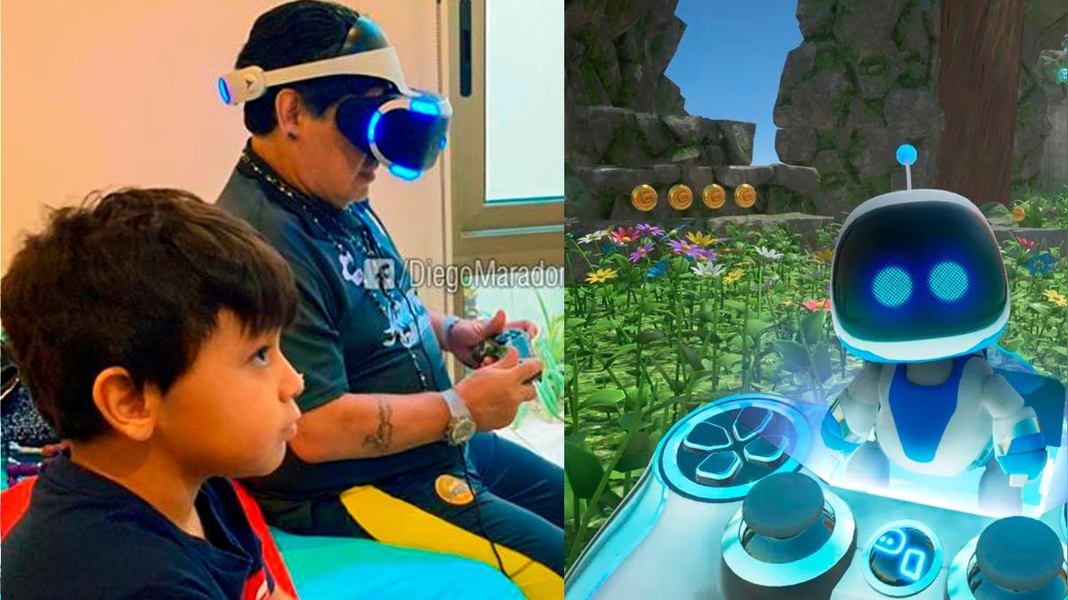 Diego disfruta de Astro Bot, un título exclusivo de PlayStation VR.