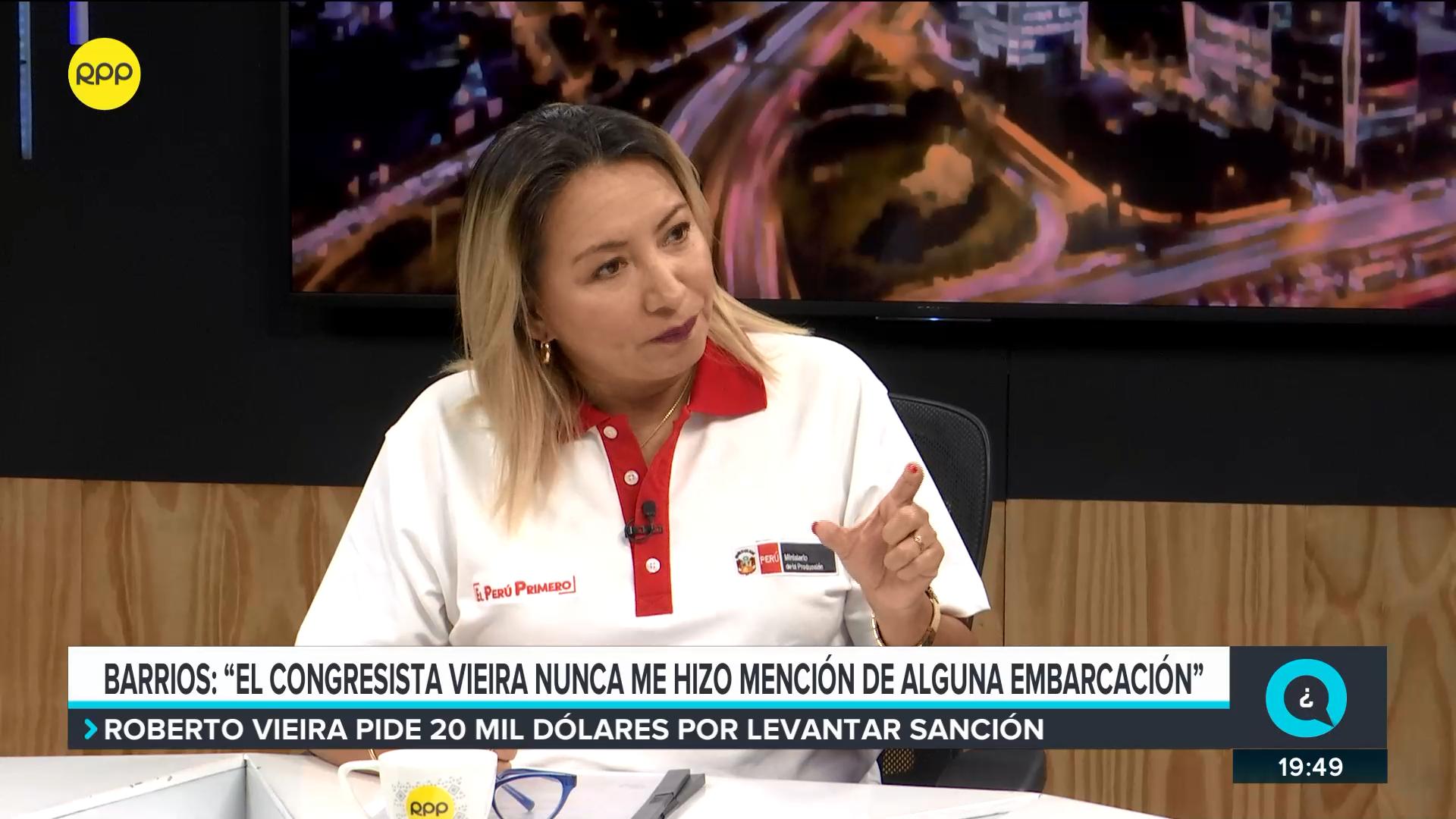 La ministra Barrios explicó por qué se reunió con Vieira.