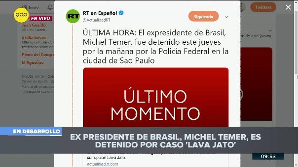 Informe de periodista brasileño de Folha sobre detención de Michel Temer.