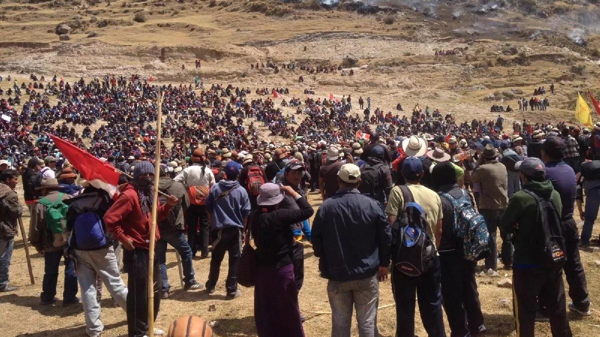 Protestas contra el proyecto minero Las Bambas, en Apurímac.