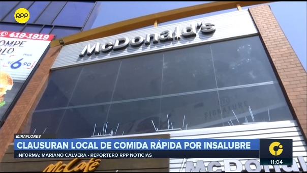 Reporte sobre clausura del local de  McDonald's en Miraflores.