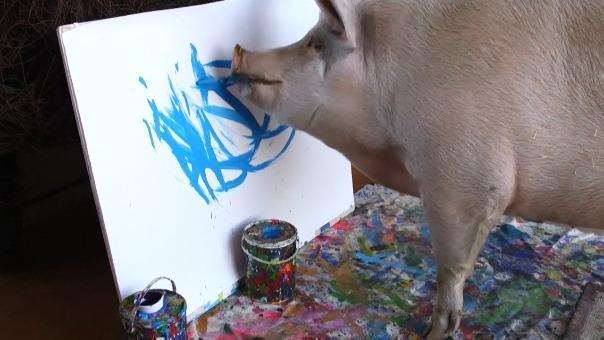 Cerdita fue rescatada de un matadero y llevada a un santuario de animales, donde se dedica al pintado de sus cuadros.