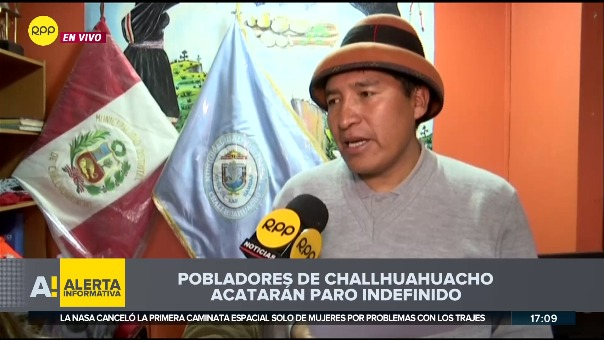 El alcalde de Challhuahuacho, Porfirio Gutiérrez, confirmó a RPP que más de 35 comunidades acatarán un paro indefinido desde la medianoche de este miércoles.