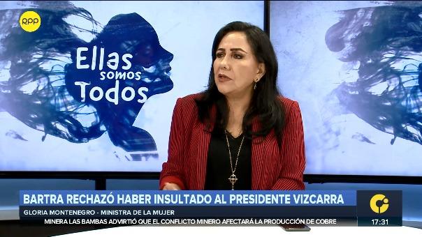 Ministra de la Mujer y Poblaciones Vulnerables, Gloria Montenegro, en RPP.