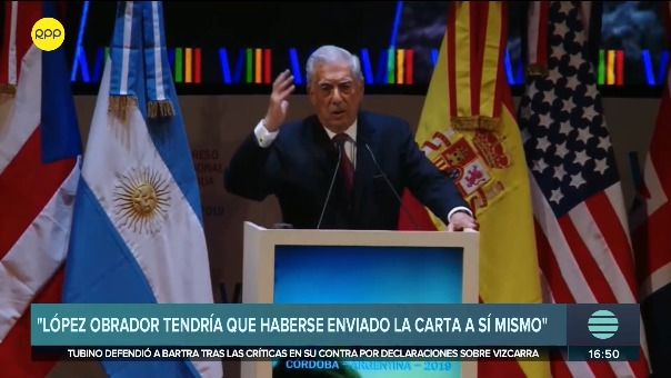 Novelista peruano dijo que la carta de López Obrador debió