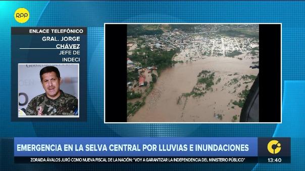 Jorge Chávez Cresta, jefe del Indeci, comenta la emergencia en la selva central por las lluvias y desbordes.