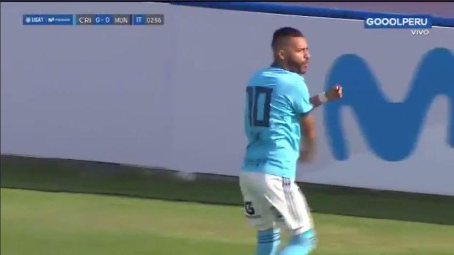 Patricio Arce anotó al minuto 3 del primer tiempo en el partido entre Cristal vs. Municipal
