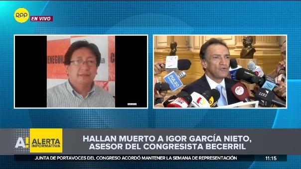 Asesor del congresista Héctor Becerril fue hallado muerto.