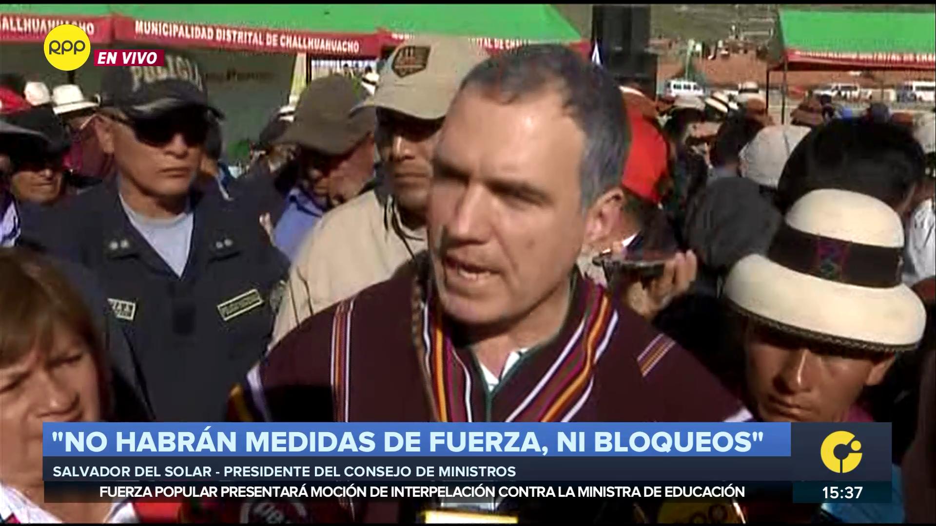 El presidente del Consejo de Ministros participó este jueves de la reunión con los comuneros de Challhuahuacho.