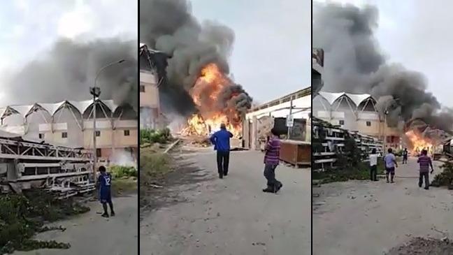 Incendio  afectó un depósito de almacén de reciclaje.