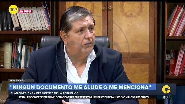 Alan García declaró en entrevista exclusiva con RPP Noticias.