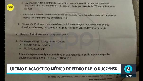 Esto es lo que dice el informe médico sobre el estado de salud del expresidente Pedro Pablo Kuczynski.
