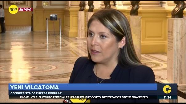 Yeni Vilcatoma pide que se cree una comisión investigadora en el Congreso.