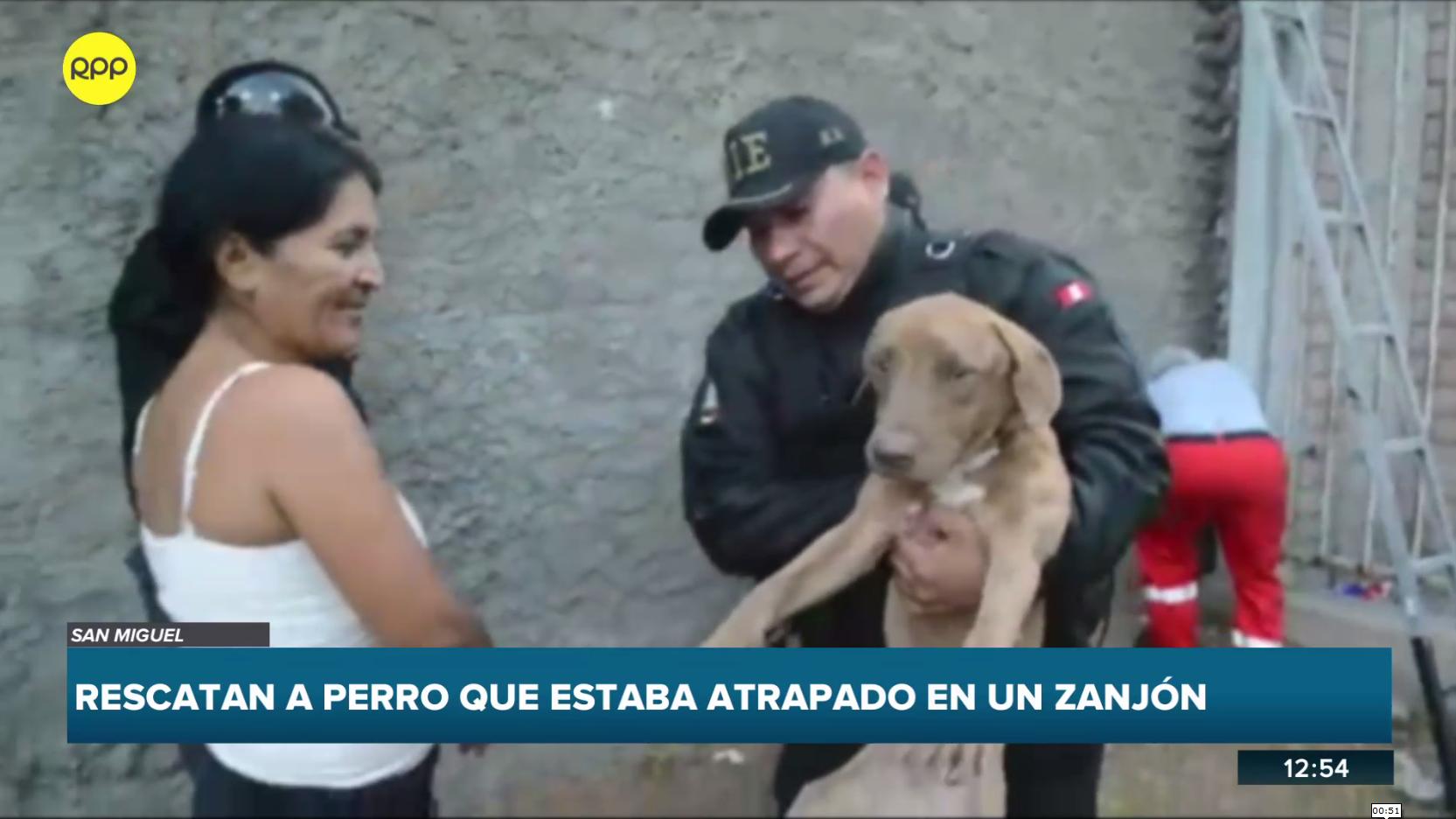 Rescatan a perro que estaba atrapado en un zanjón.