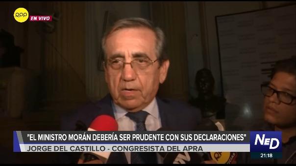 Jorge del Castillo declara a la prensa tras sesión de Comisión de Defensa.