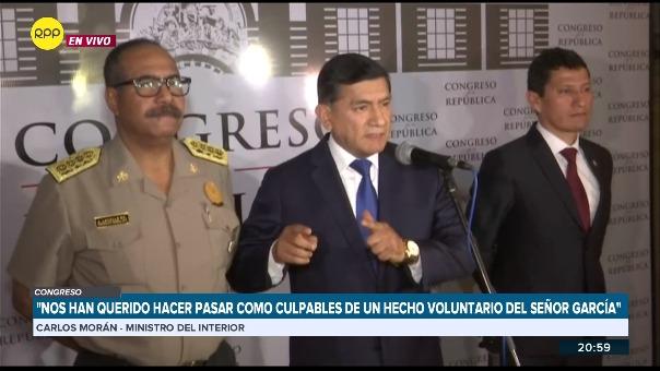 El ministro del Interior, Carlos Morán acudió hoy a la Comisión de Defensa del Congreso de la República
