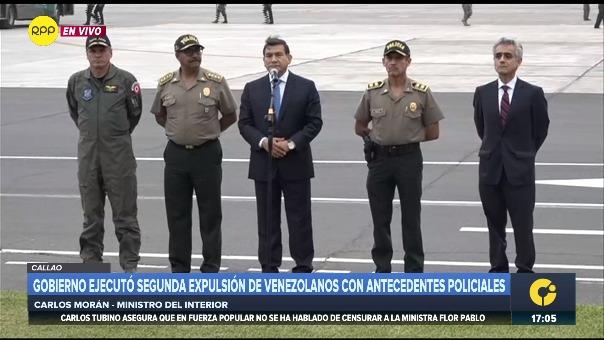 Ministro del Interior, Carlos Morán, brinda declaraciones sobre expulsión de ciudadanos con antecedentes policiales.