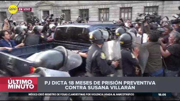 Susana Villarán recibió 18 meses de prisión preventiva por el caso de los aportes de las empresas brasileñas Odebrecht y OAS a sus campañas por el 'No a la revocatoria' (2013) y su reelección (2014).