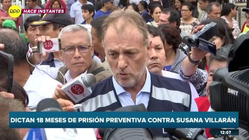 """Jorge Muñoz consideró que Susana Villarán """"está ahora donde tiene que estar""""."""