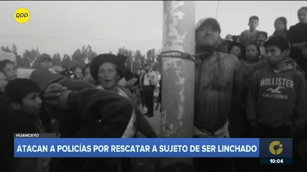 Momento en que campesinos casi prenden fuego a hombre en Huancayo