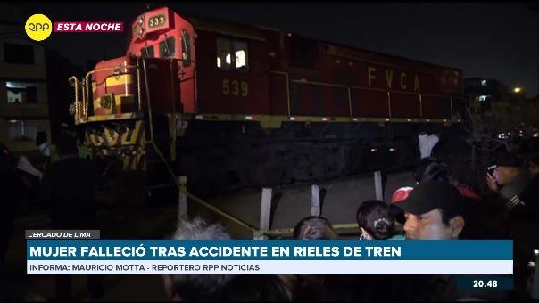 Mujer falleció tras accidente en rieles de tren en Cercado de Lima.