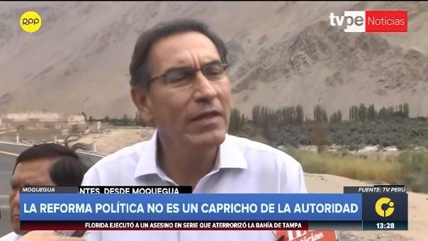 Preisdente Martín Vizcarra declara a la prensa desde Moquegua.