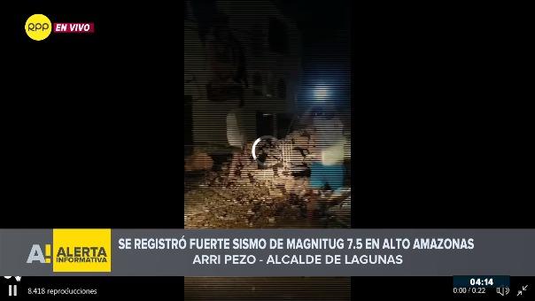 Arri Pezo, el alcalde de Lagunas, lugar del epicentro del sismo, habló a nivel nacional sobre lo ocurrido en su localidad.