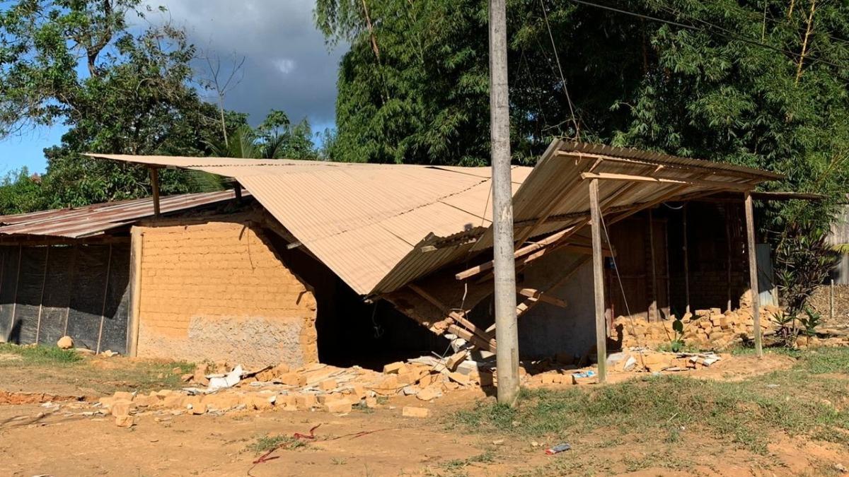 Así quedó una vivienda en San Martín tras el terremoto de magnitud 8 en Loreto.