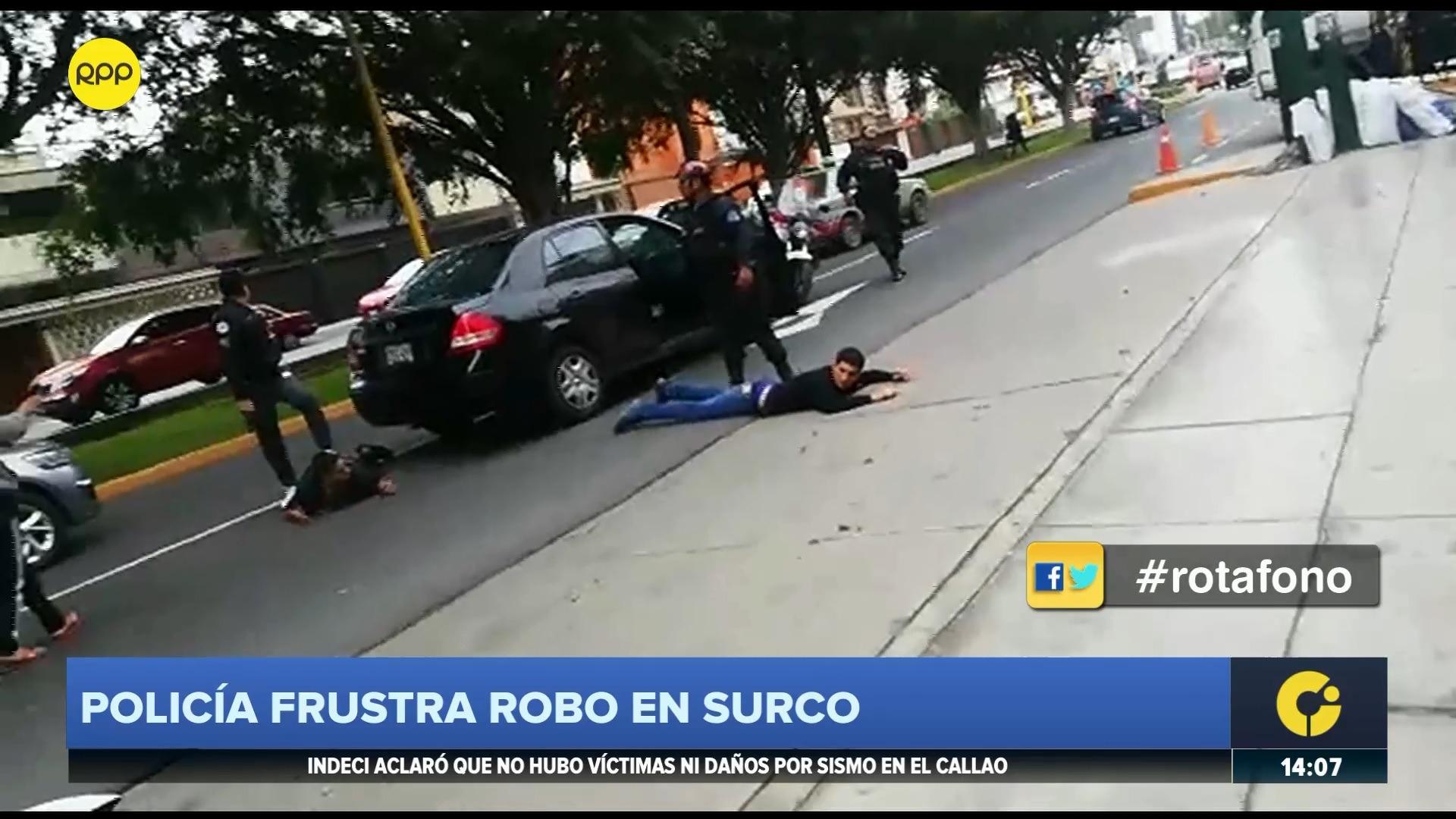 Los delincuentes fueron capturados en el cruce de la calle Cataluña y la avenida Mariscal Castilla.