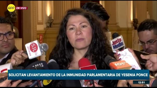 El Poder Judicial solicita que se le levante la inmunidad parlamentaria a Yesenia Ponce.