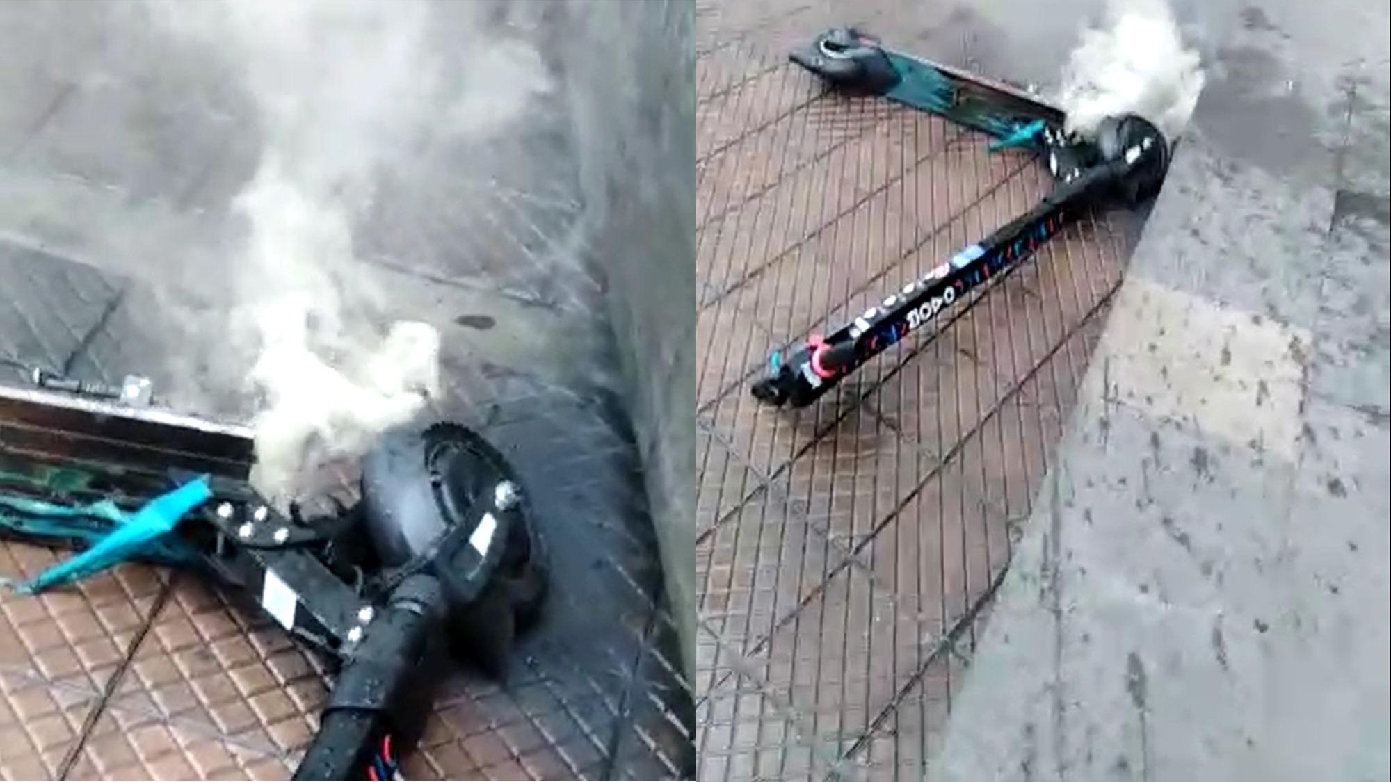 VIDEO | Momento en que el scooter de MOVO emite humo tras la falla eléctrica