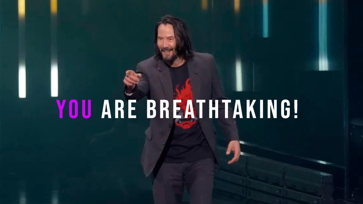 Keanu presentó la fecha de lanzamiento de Cyberpunk 2077.