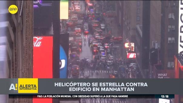 Helicóptero se estrelló contra un rascacielos en Manhattan.
