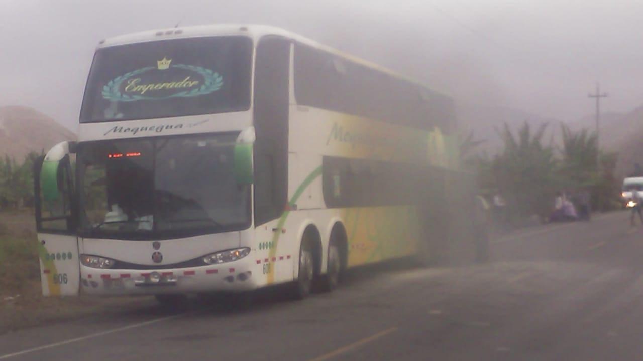 Amago de incendio en bus que viajaba de Arequipa a Tacna.