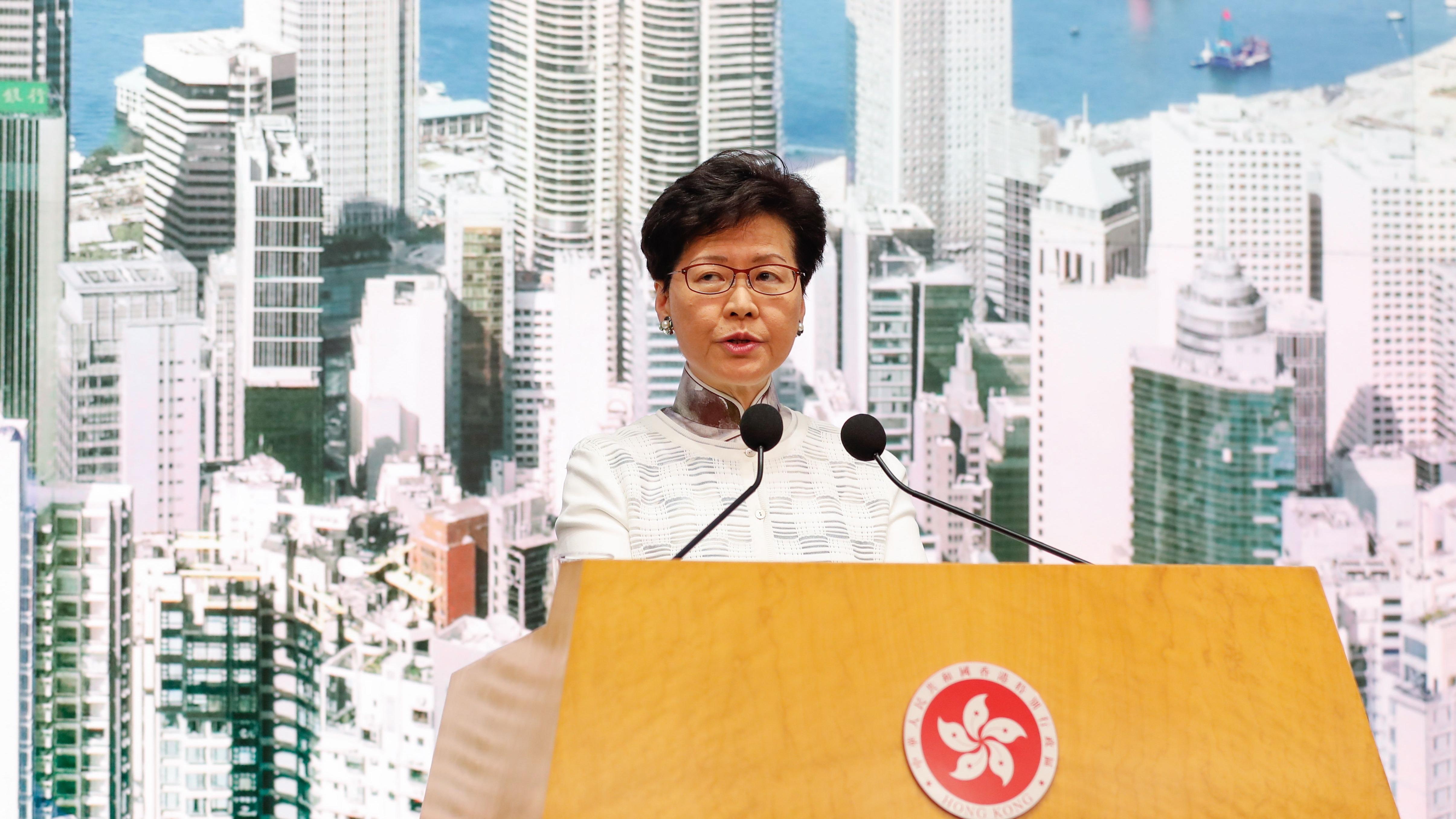 La jefa del Ejecutivo de Hong Kong, Carrie Lam, anunció la