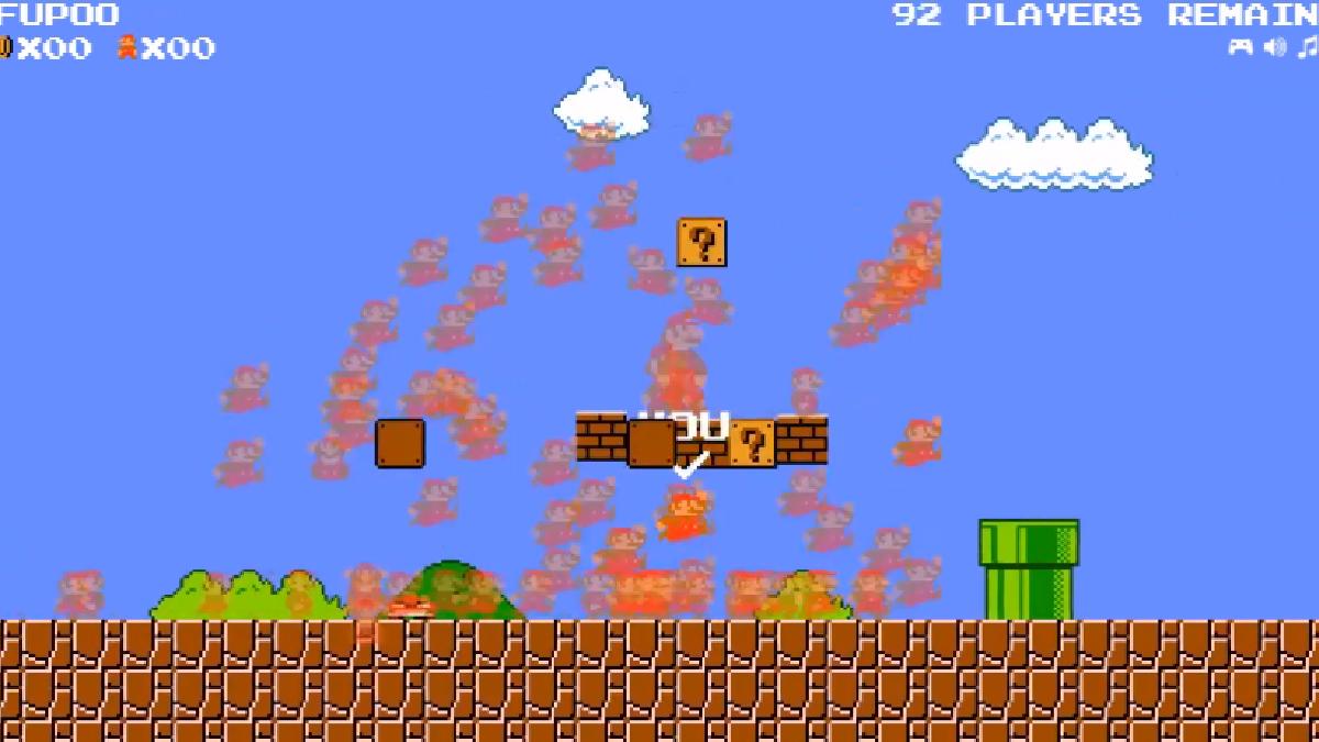 100 Marios enfrentados unos contra otros.