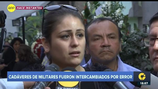 novia del fallecido subteniente del Ejército, Tomy Heredia Yovera.
